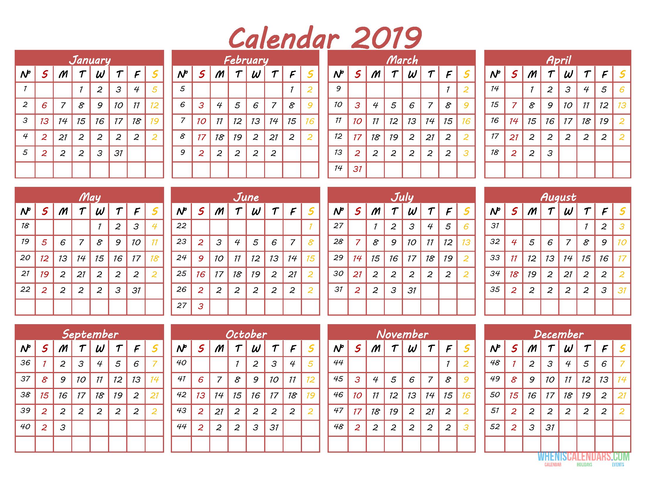Printable 2019 12 Month Calendar Template Pdf Word Excel