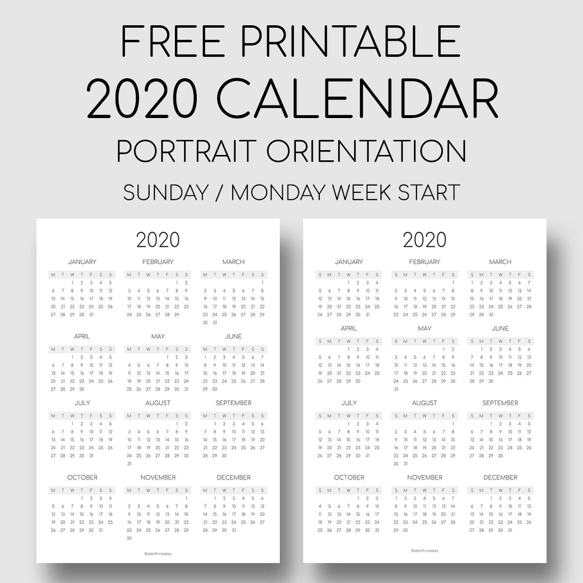 Printable 2020 Year At A Glance Calendar Portrait