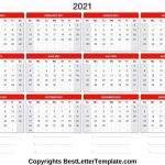 Printable 2021 Calendar Template In Pdf Word Excel