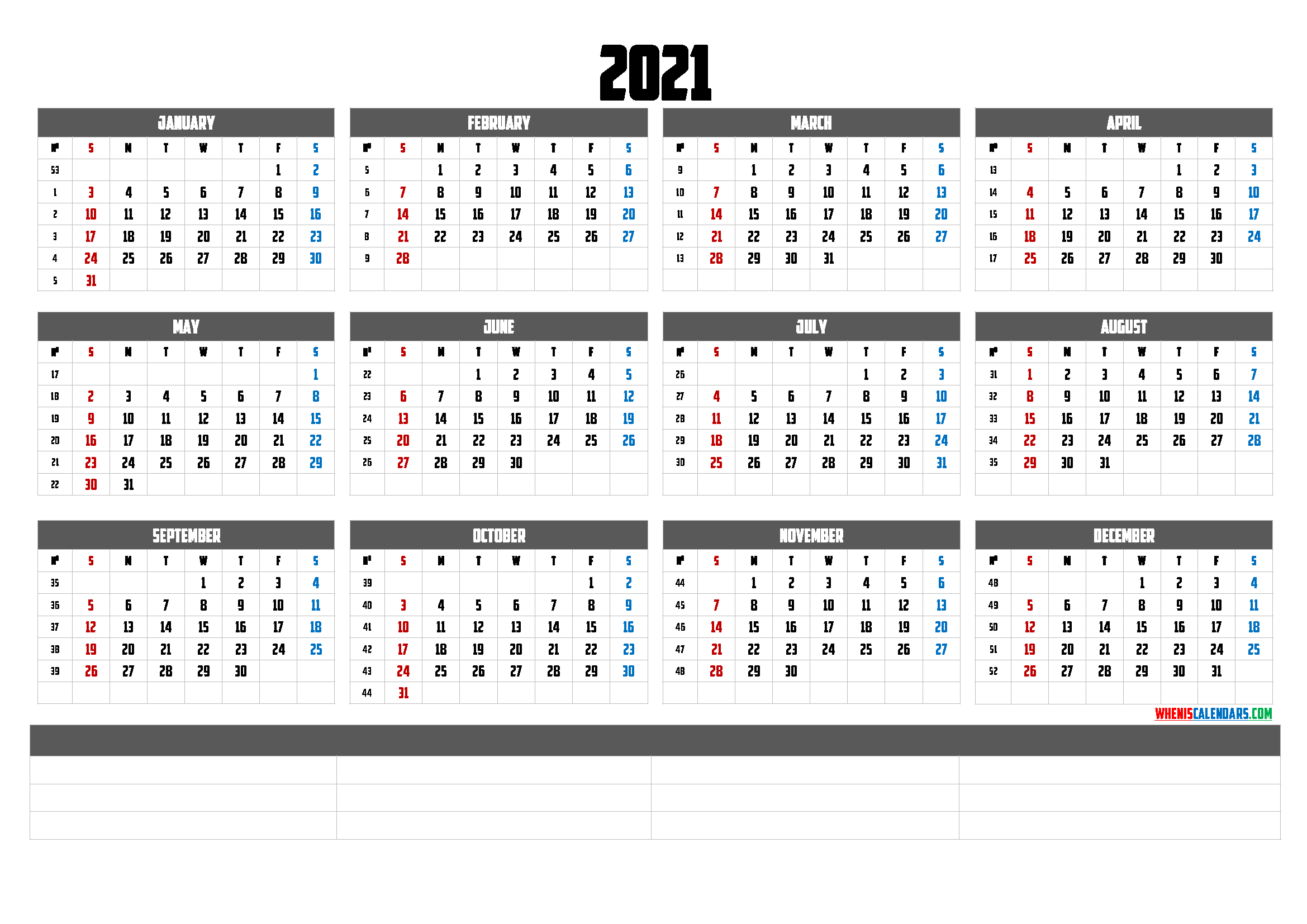 Printable 2021 Yearly Calendar 6 Templates Free