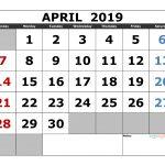 Printable April 2019 Calendar Template Landscape Format