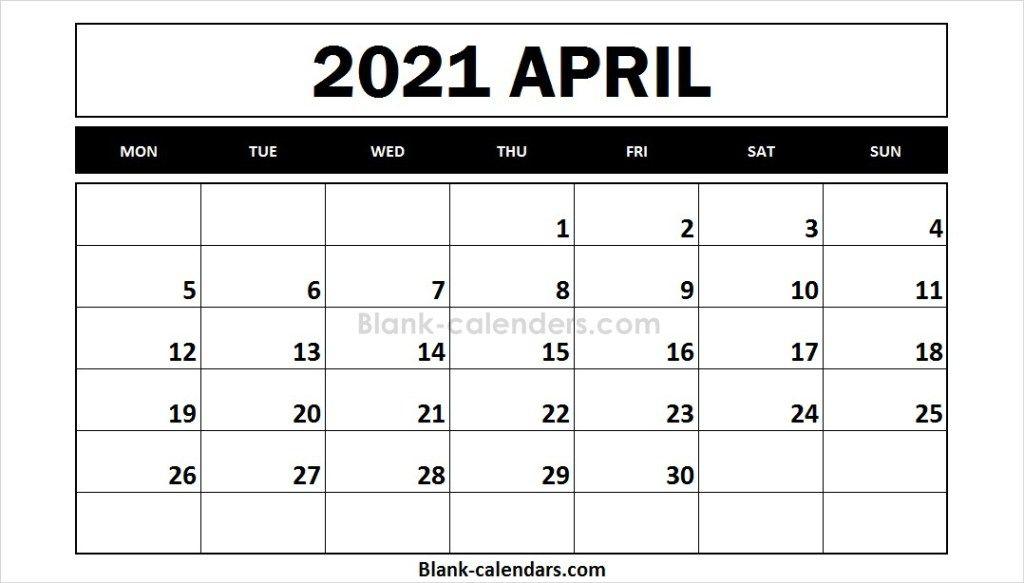 Printable April 2021 Calendar Monday Start Design 2021