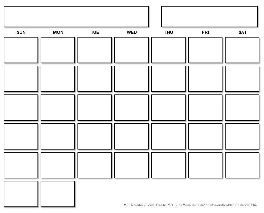 Printable Blank Calendar With A Floating Grid Printable