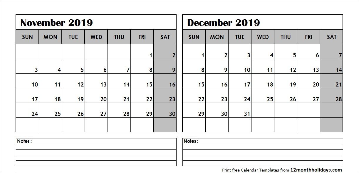 Printable Blank Two Month Calendar November December 2019