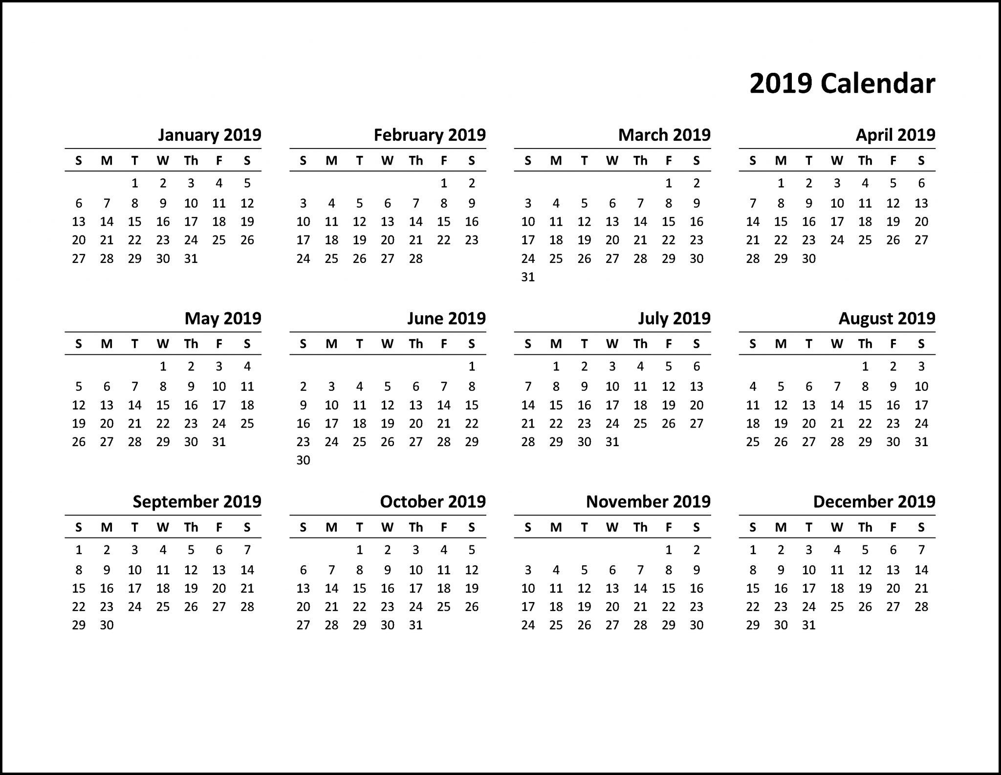 Printable Calendar 2019 Pdf Printable Calendar Template