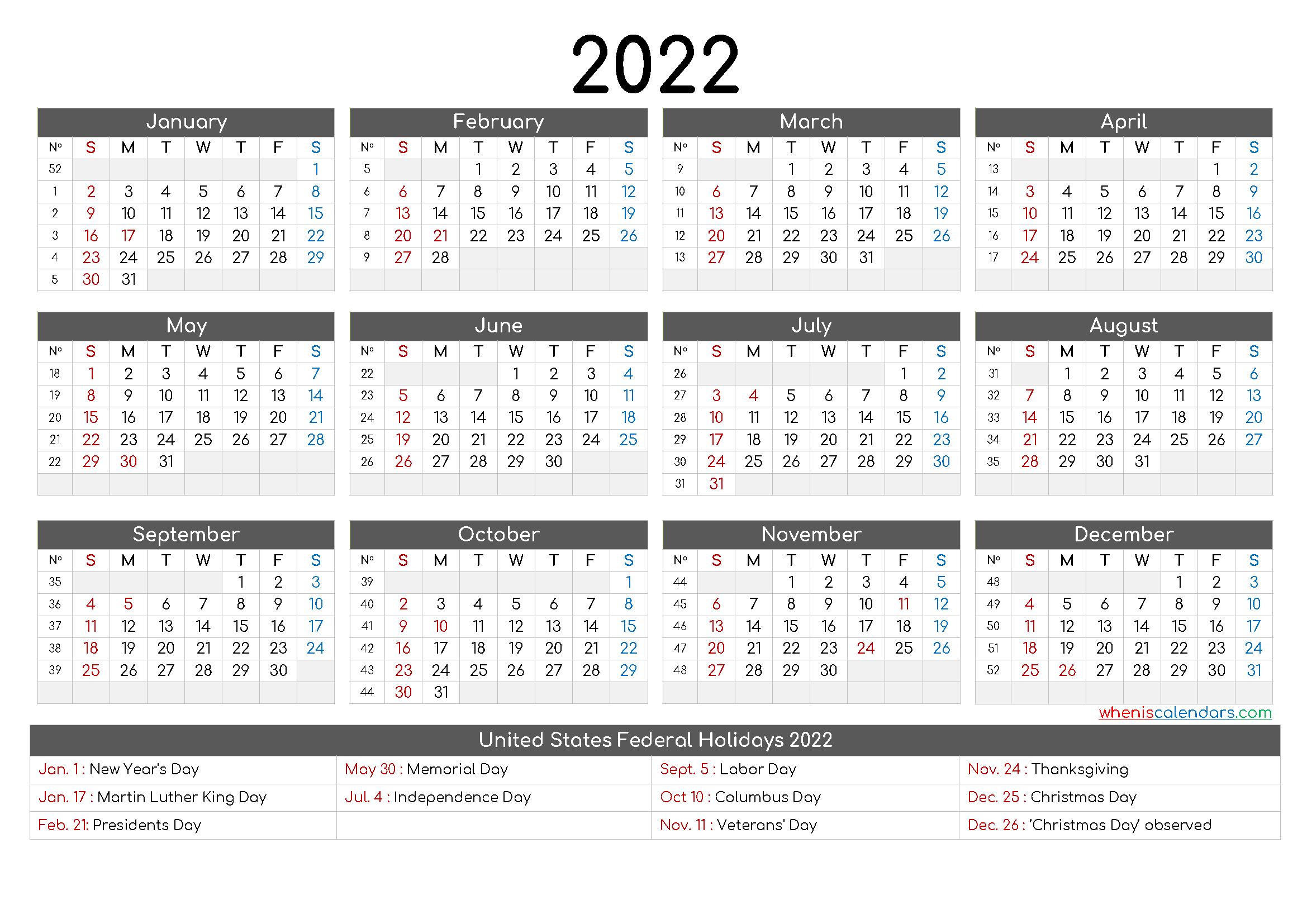 Printable Calendar 2022 Pdf 6 Templates In 2020