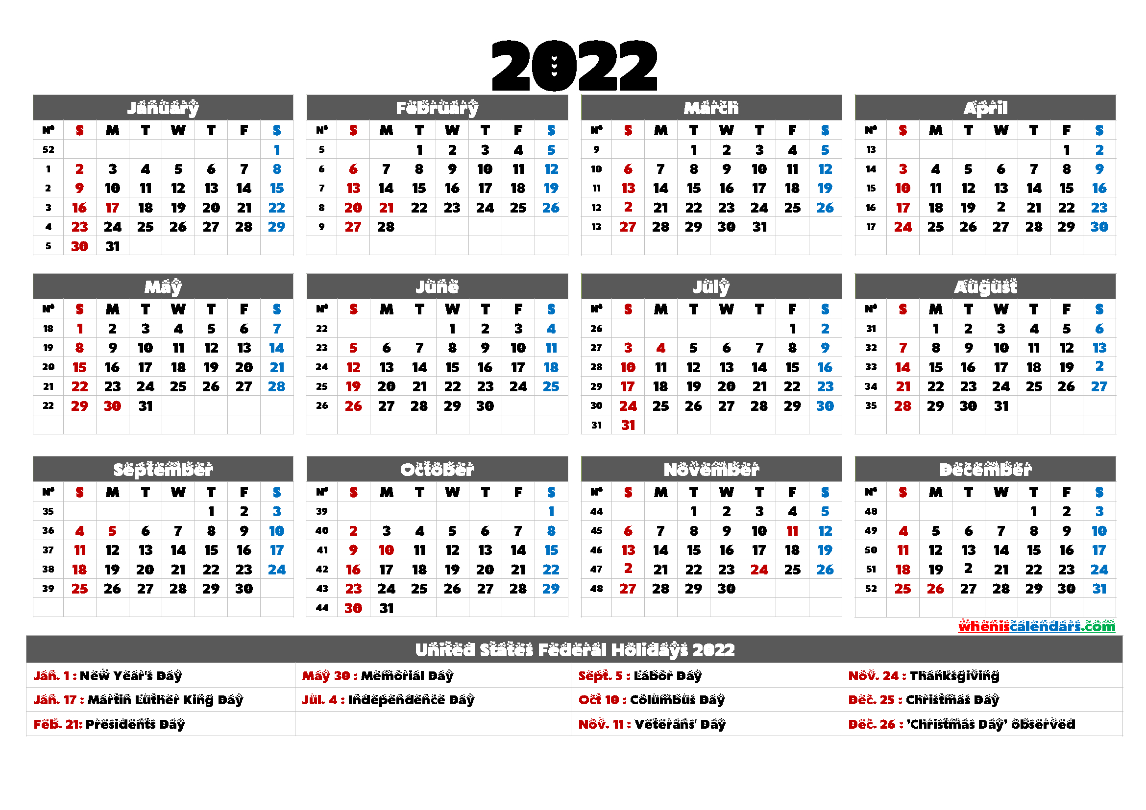 Printable Calendar 2022 With Holidays 6 Templates In