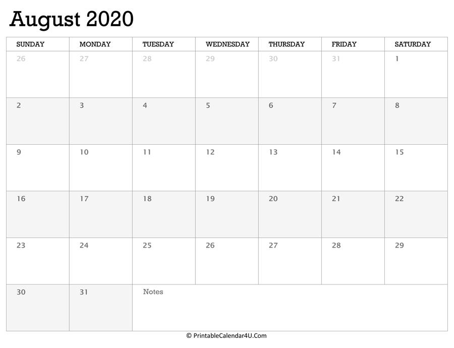 Printable Calendar August 2020 With Holidays