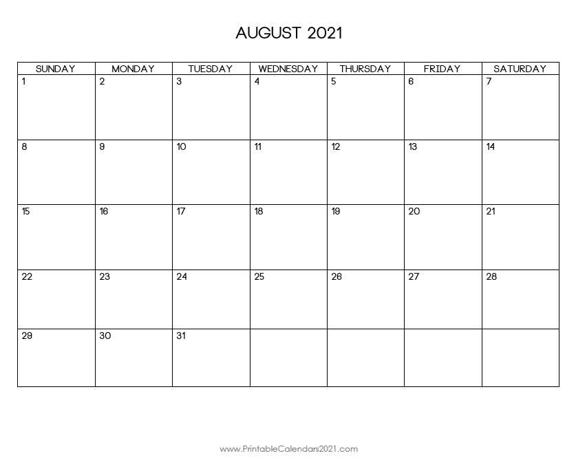 Printable Calendar August 2021 Printable 2021 Calendar