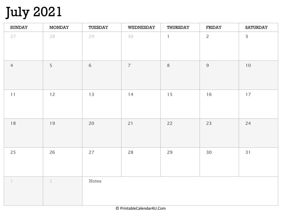 Printable Calendar July 2021 With Holidays