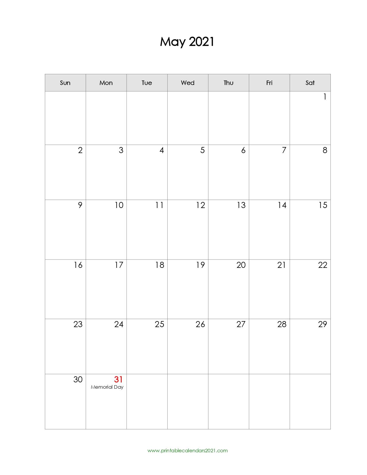 Printable Calendar May 2021 Printable 2021 Calendar With