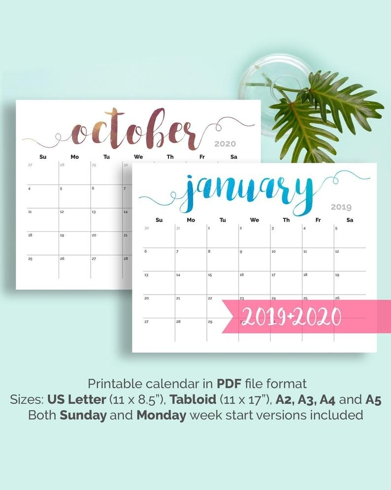 Printable Calendar Monthly 2019 2020 Free 11x17 Large 2