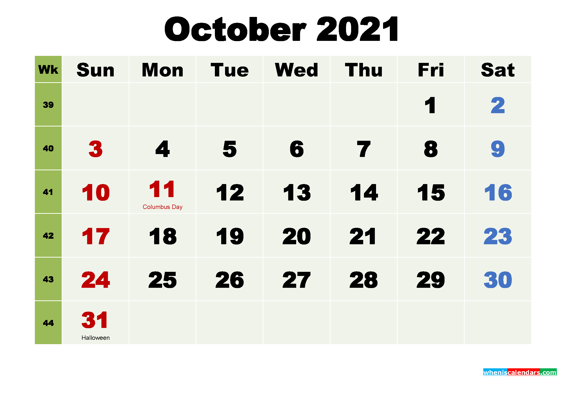 Printable Calendar October 2021 With Holidays As Word Pdf