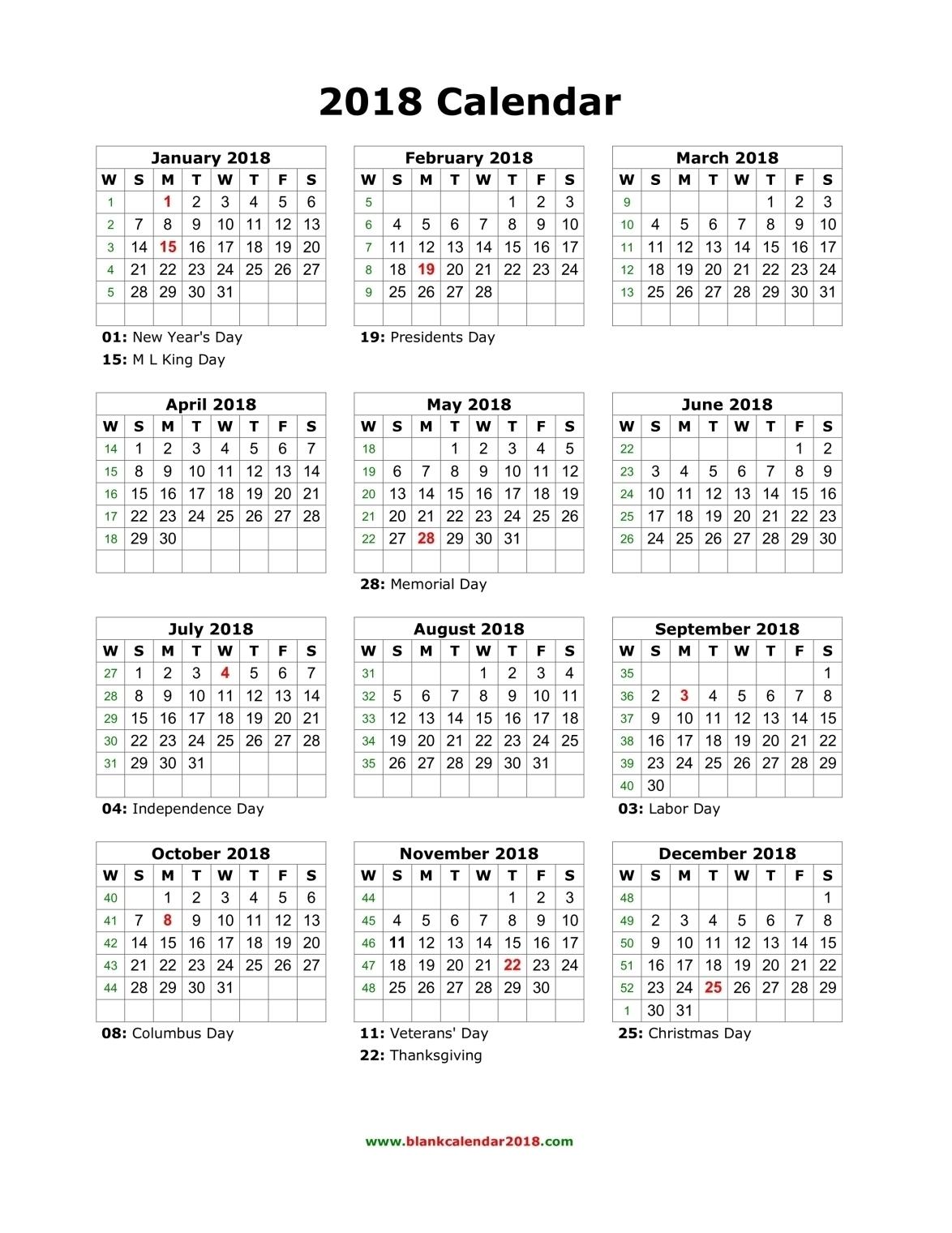 Printable Calendar Year On One Page Ten Free Printable