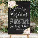 Printable Chalkboard Wedding Countdown Sign Bridal Shower