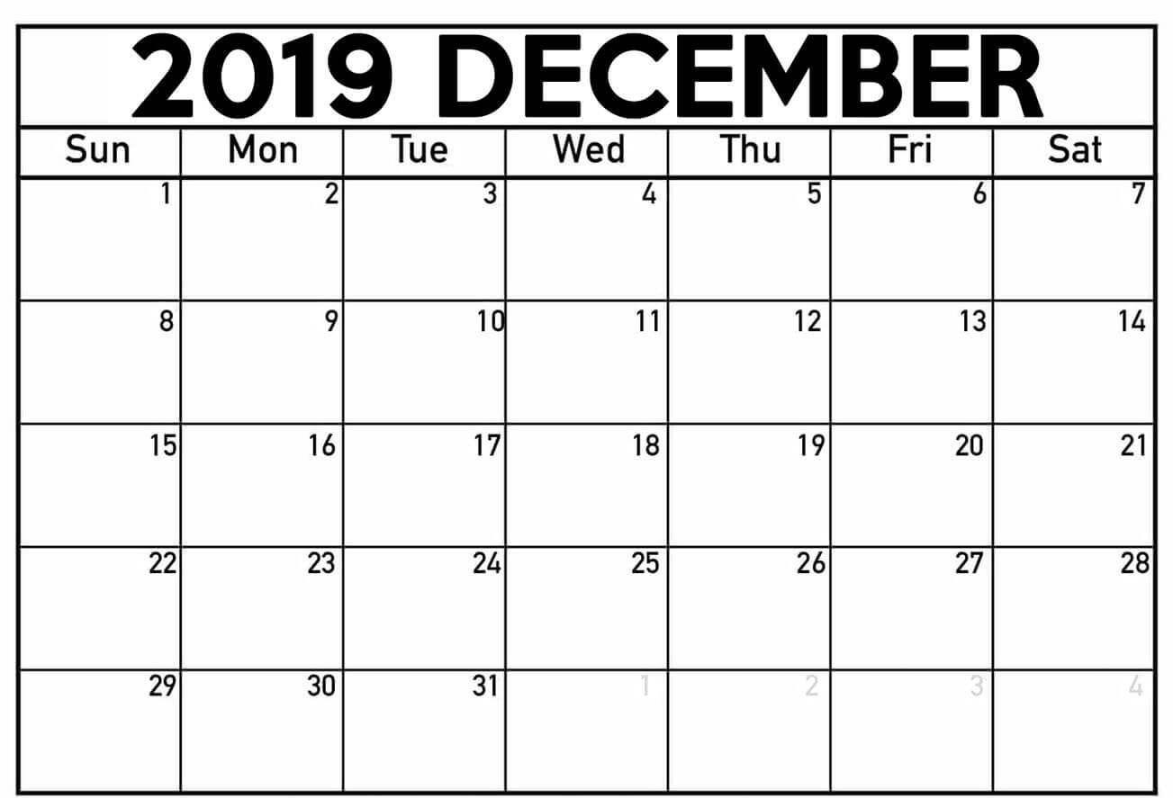 Printable December 2019 Calendar Page Calendar 2019