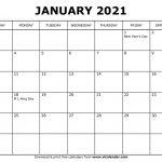 Printable January 2021 Calendars