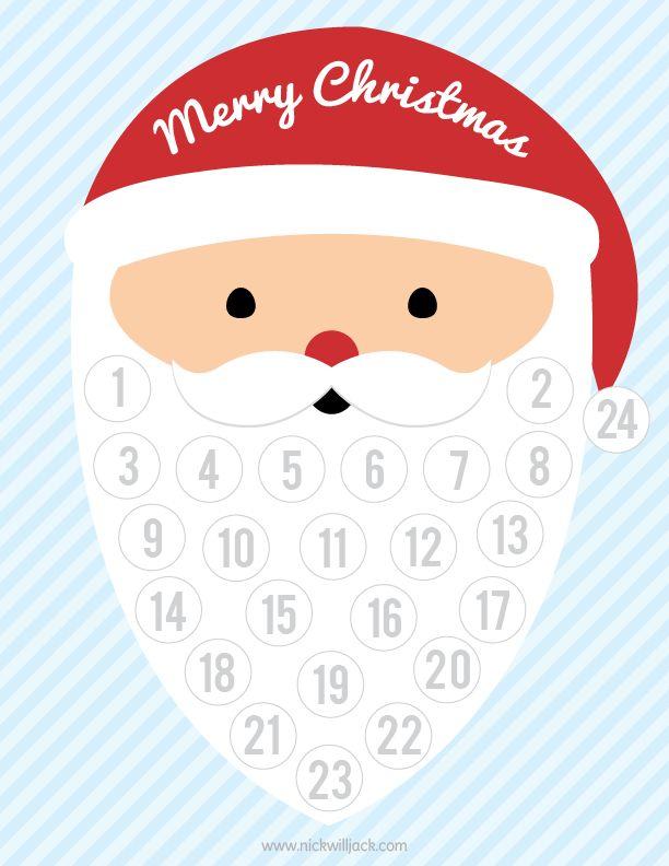 Printable Santa Christmas Countdown Christmas Printables