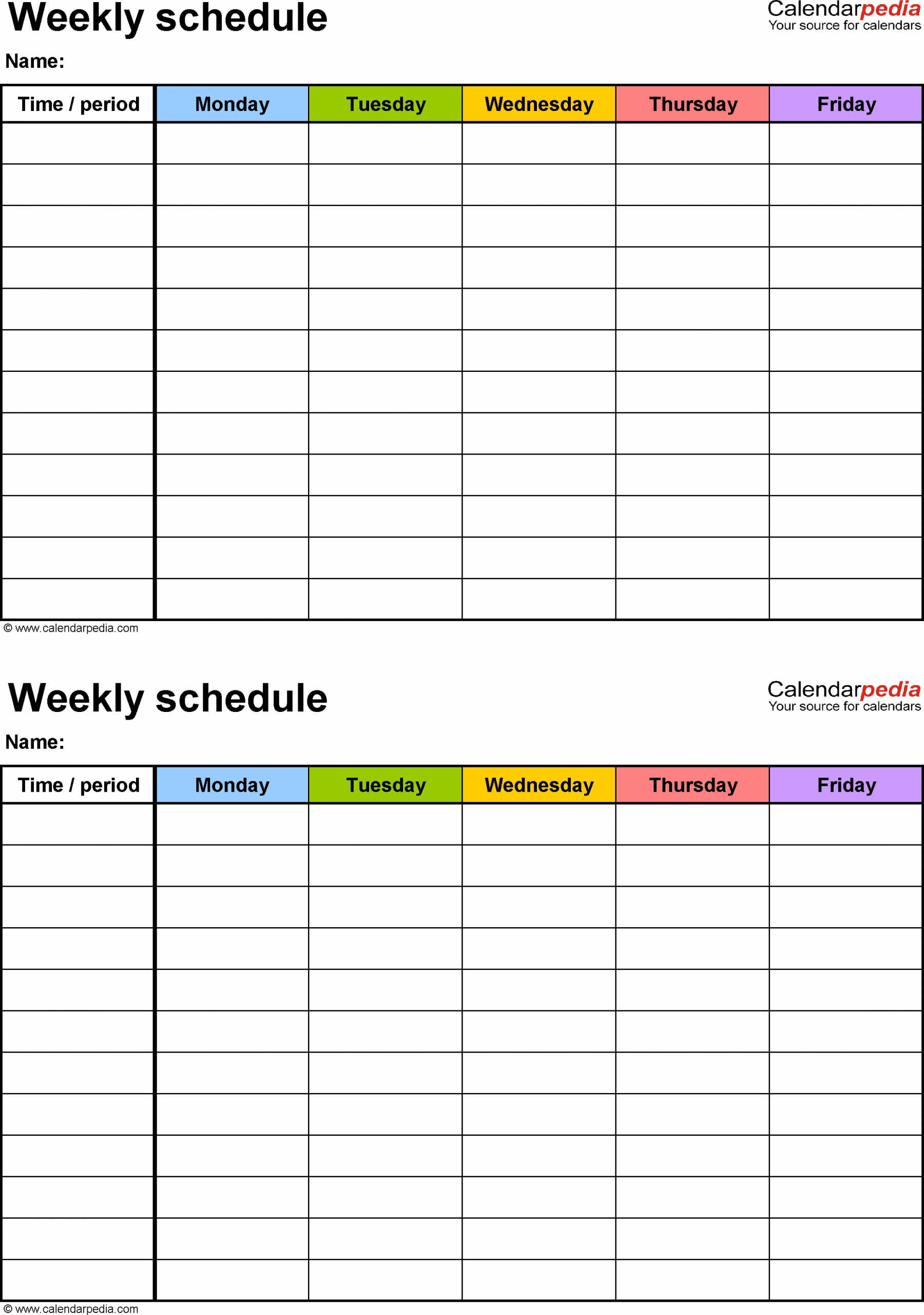 Printable Schedule 1 Week Editable Calendar Inspiration