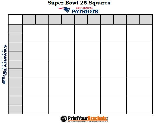 Printable Super Bowl Squares 25 Grid Office Pool Nfl With