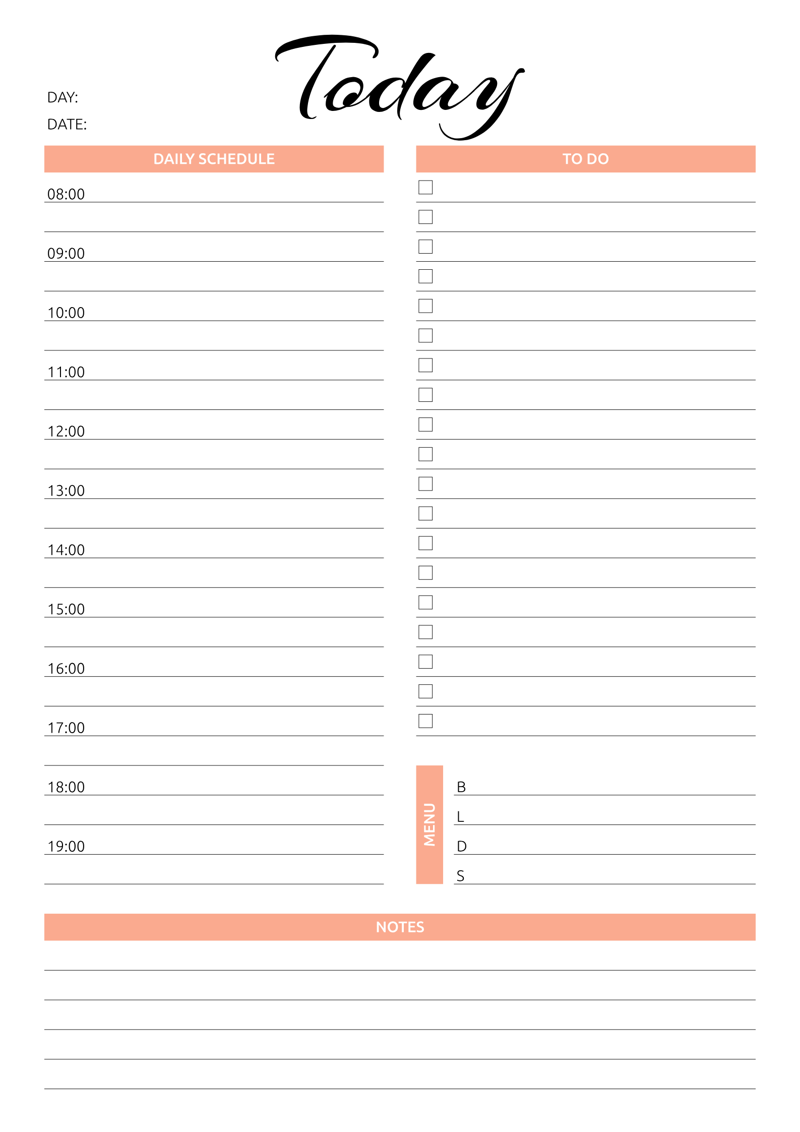 Printable Today Hourly Planner Pdf Download Daily