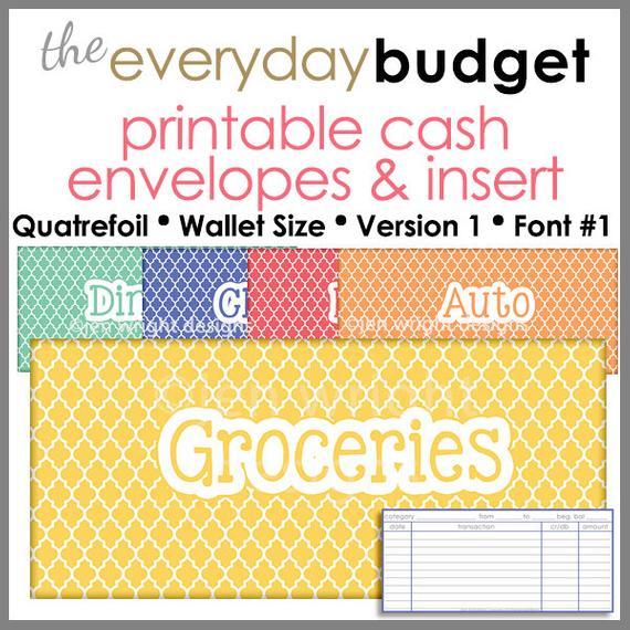 Quatrefoil Wallet Size Printable Cash Envelope Ver 1 Budget