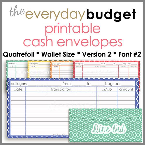 Quatrefoil Wallet Size Printable Cash Envelope Ver 2