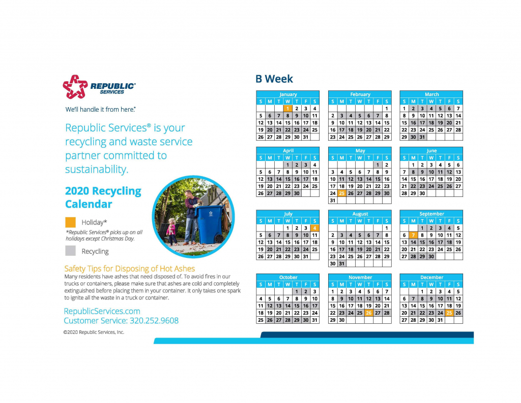 Republic Services Recycling Schedule Calendar Calendar 1