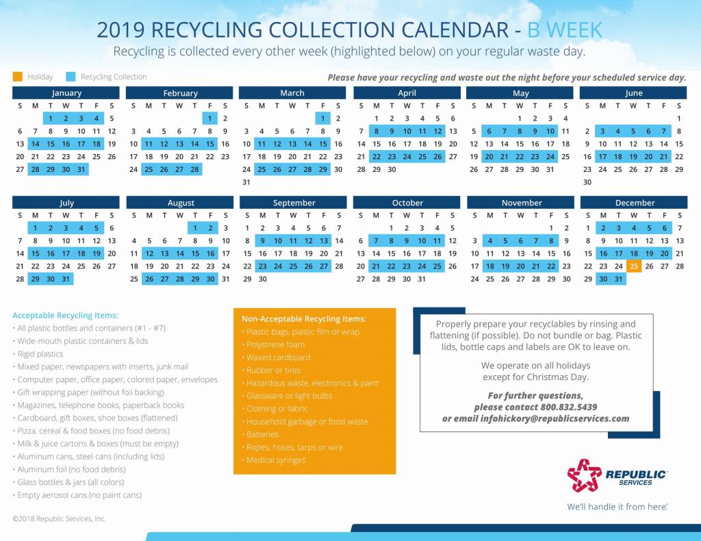 Republic Services Recycling Schedule Calendar Calendar