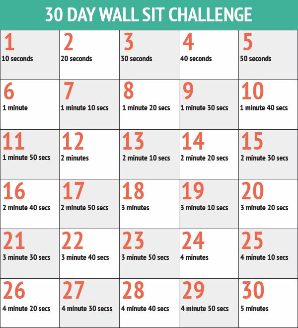 Runproctor 30 Day Squat And Wall Sit Challenges