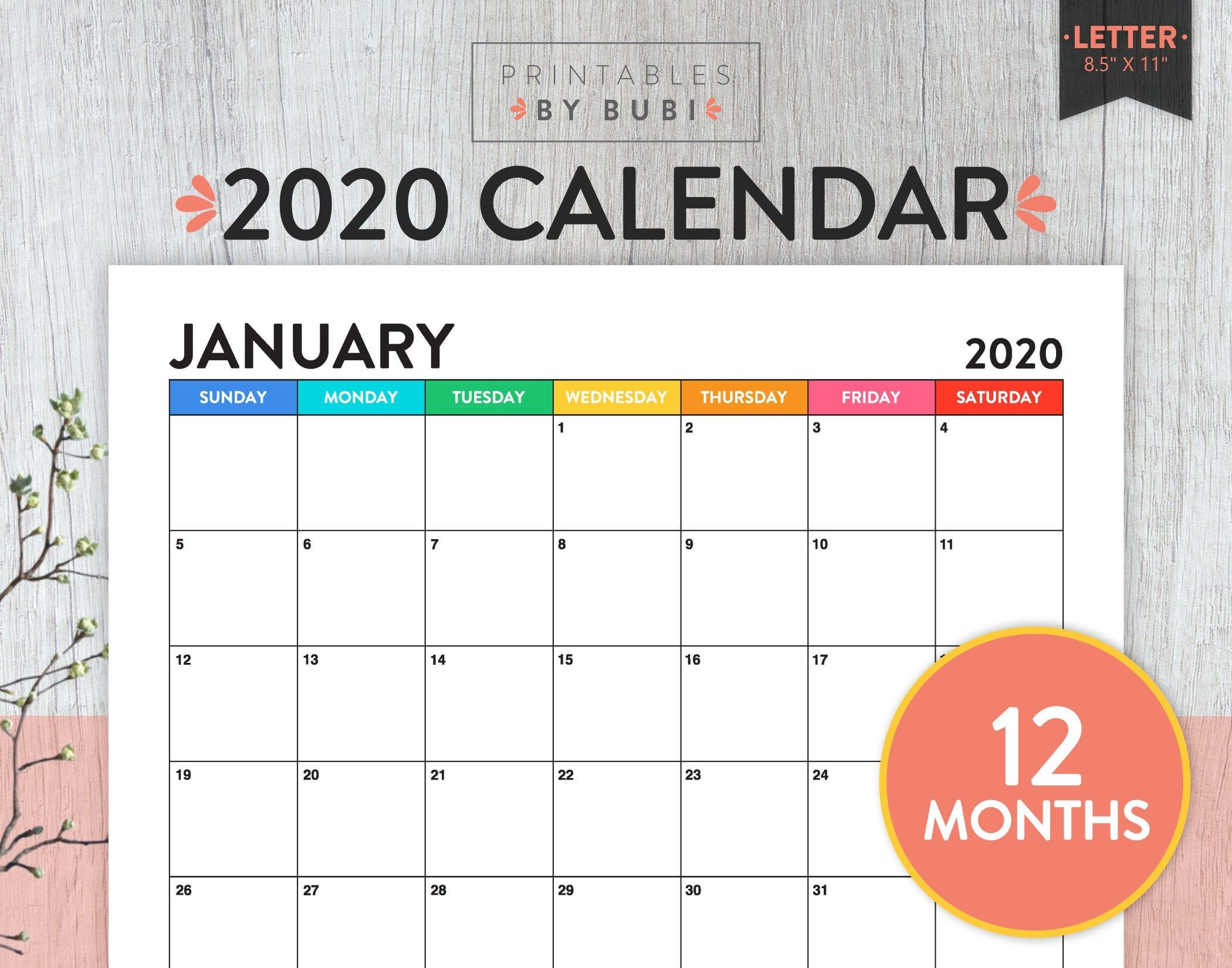 Sale Printable Monthly Calendar 2020 Calendar Printable
