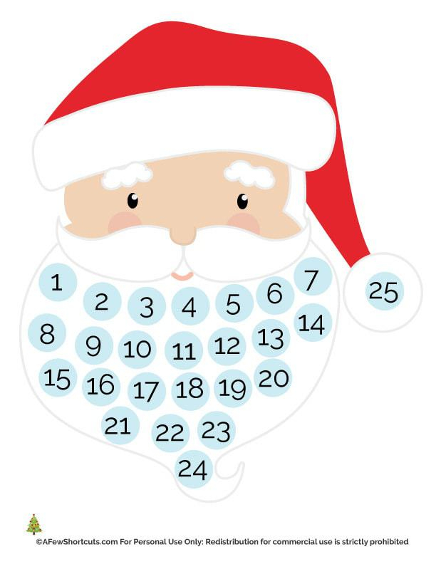 Santa Countdown Printable A Few Shortcuts