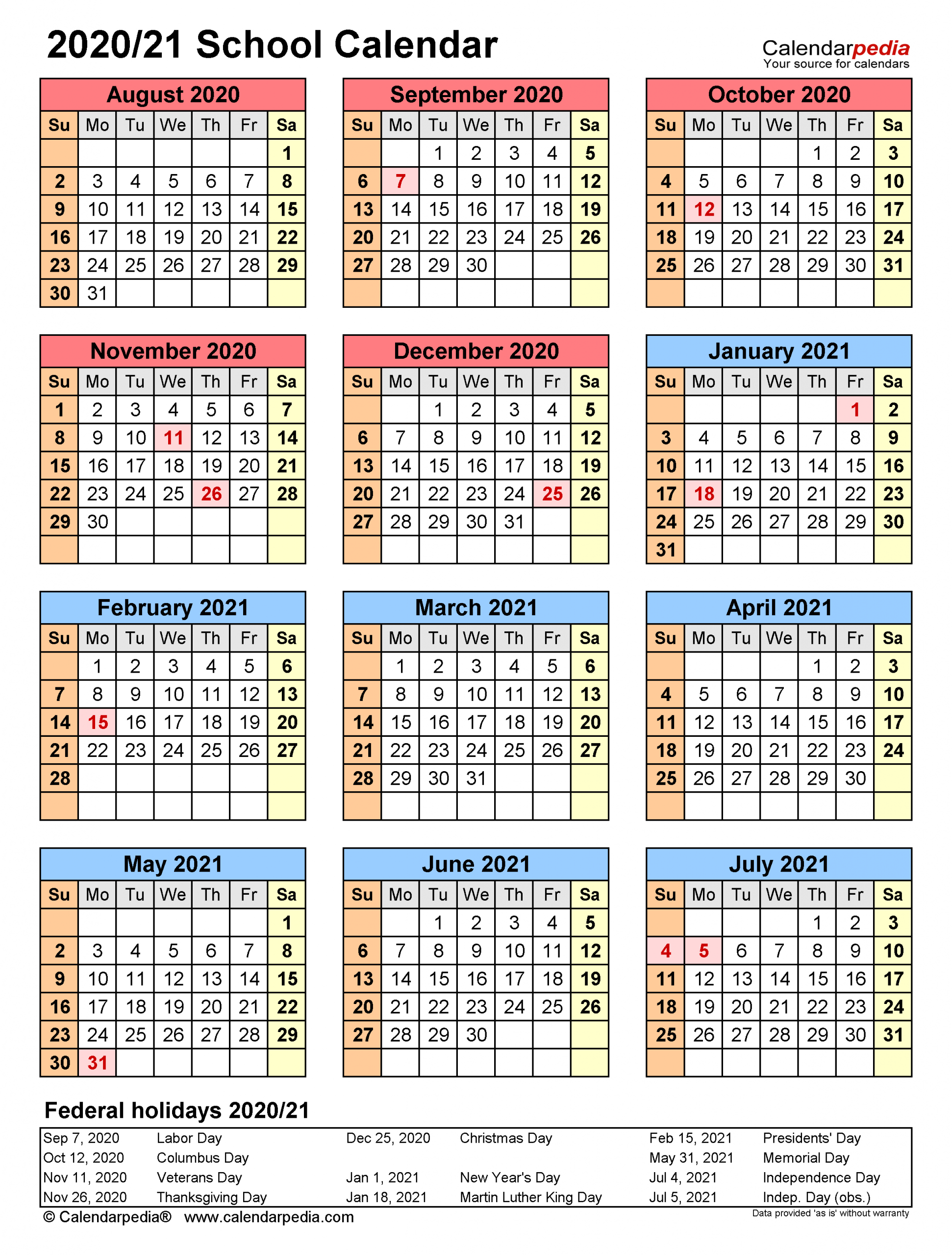 School Calendars 2020 2021 Free Printable Word Templates