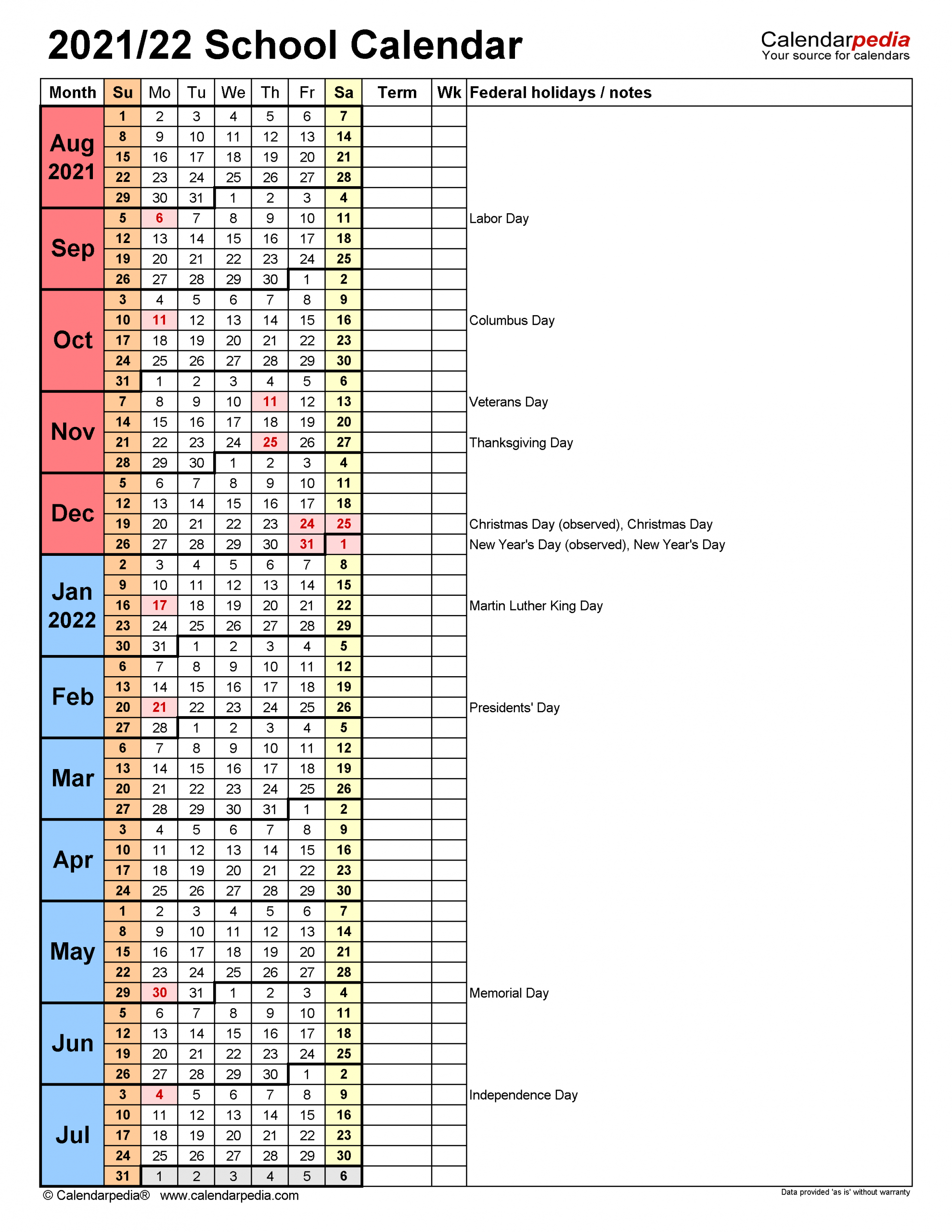 School Calendars 2021 2022 Free Printable Excel Templates