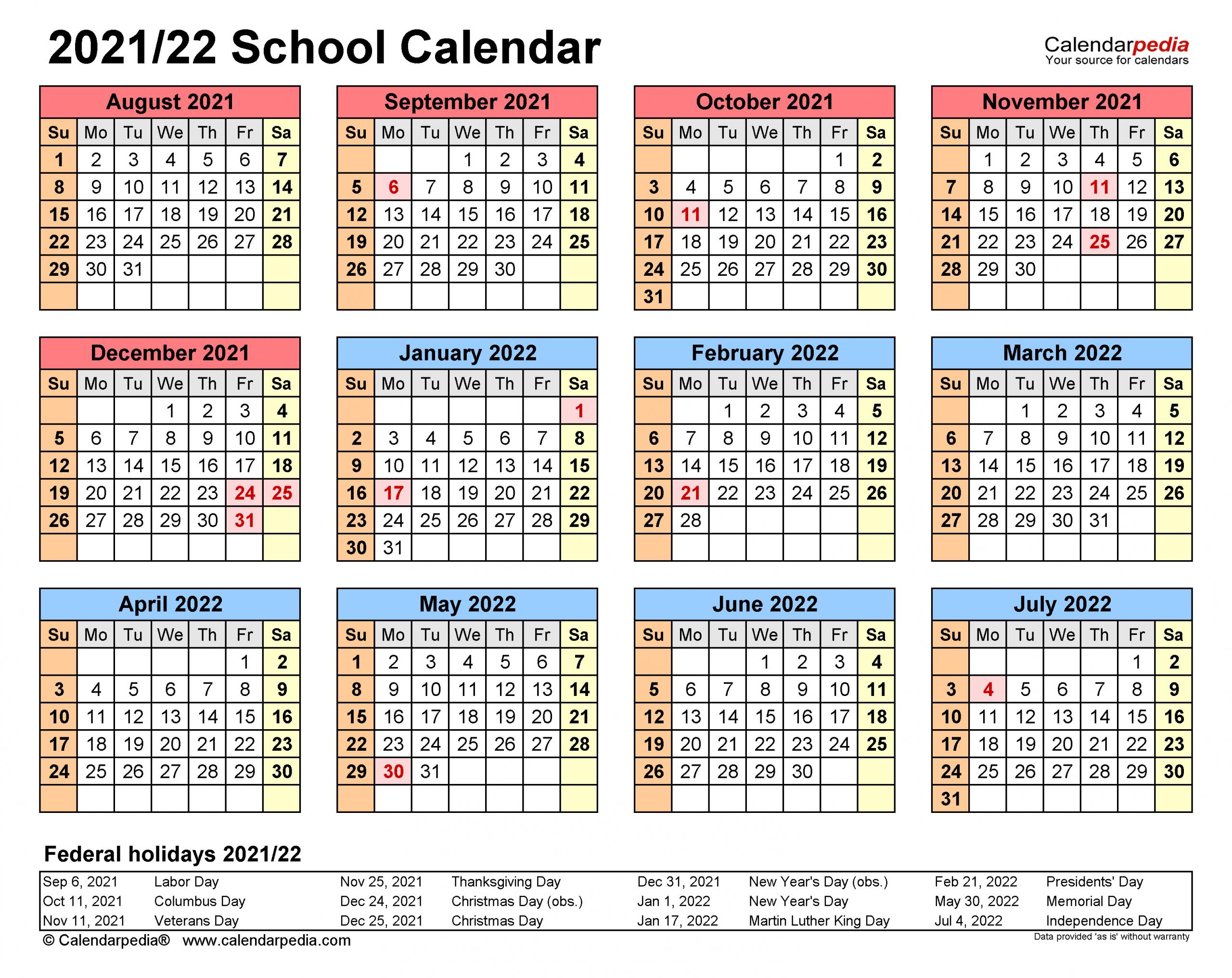 School Calendars 2021 2022 Free Printable Pdf Templates