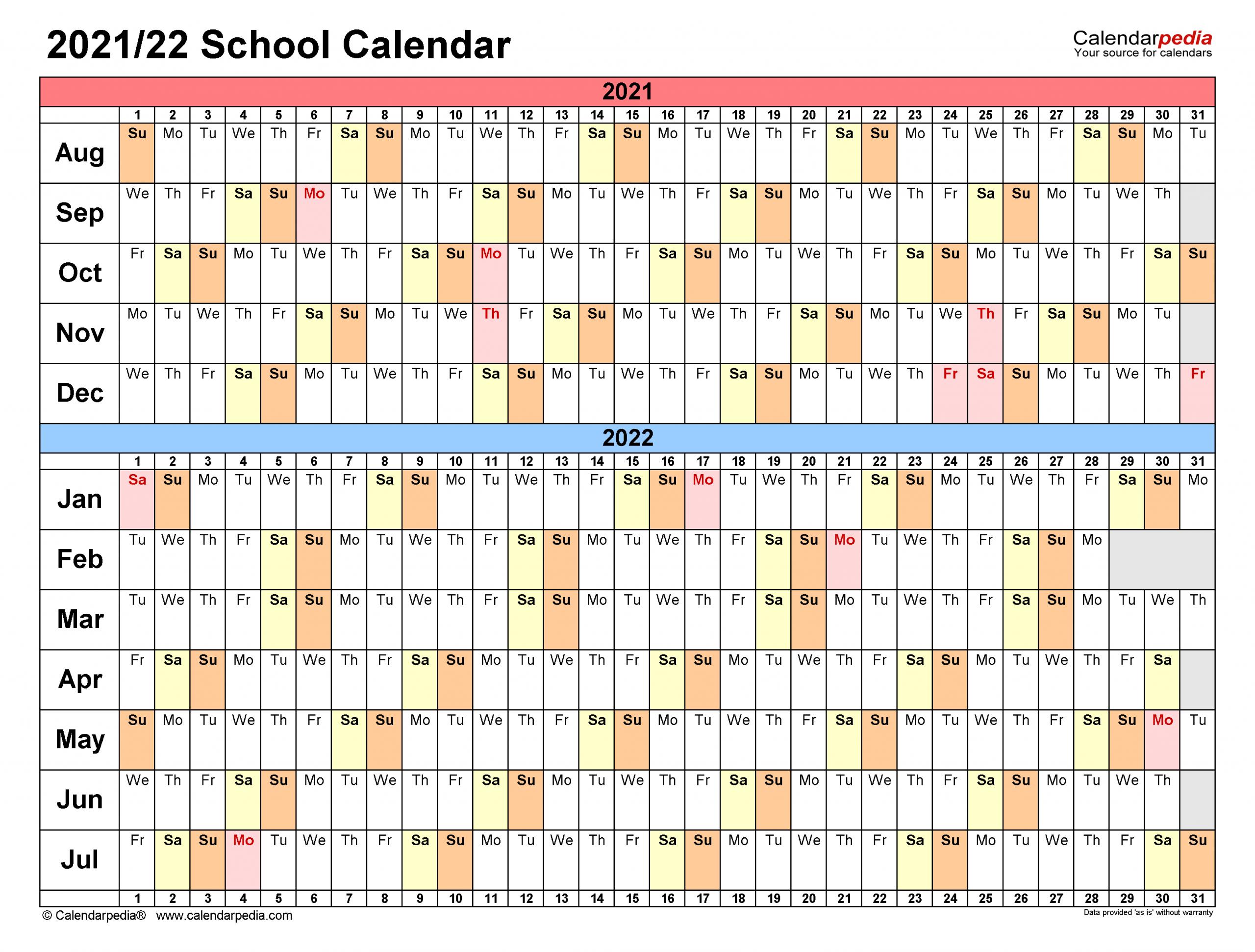 School Calendars 2021 2022 Free Printable Word Templates