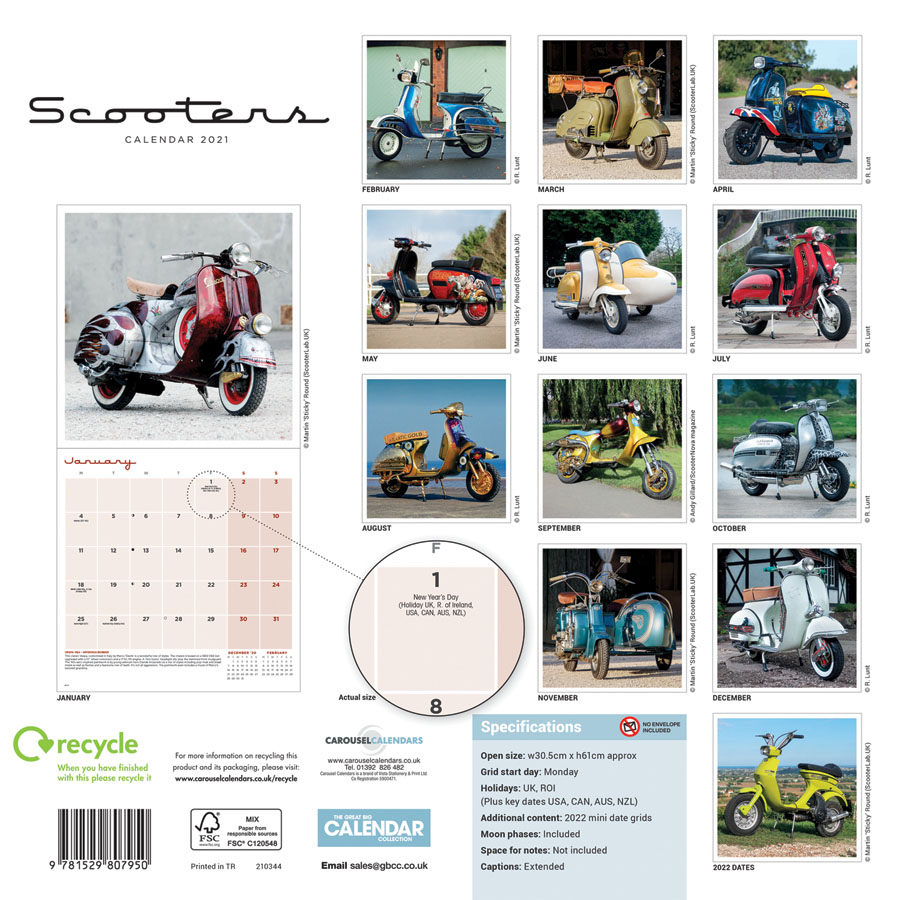 Scooters Calendar 2021 Square Wall Carousel Calendars