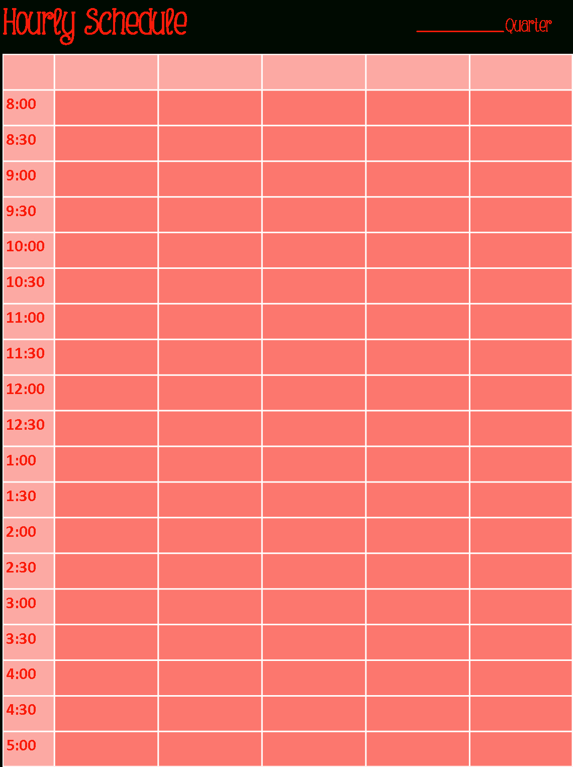 Search Results For Cute Weekly Hourly Schedule Template