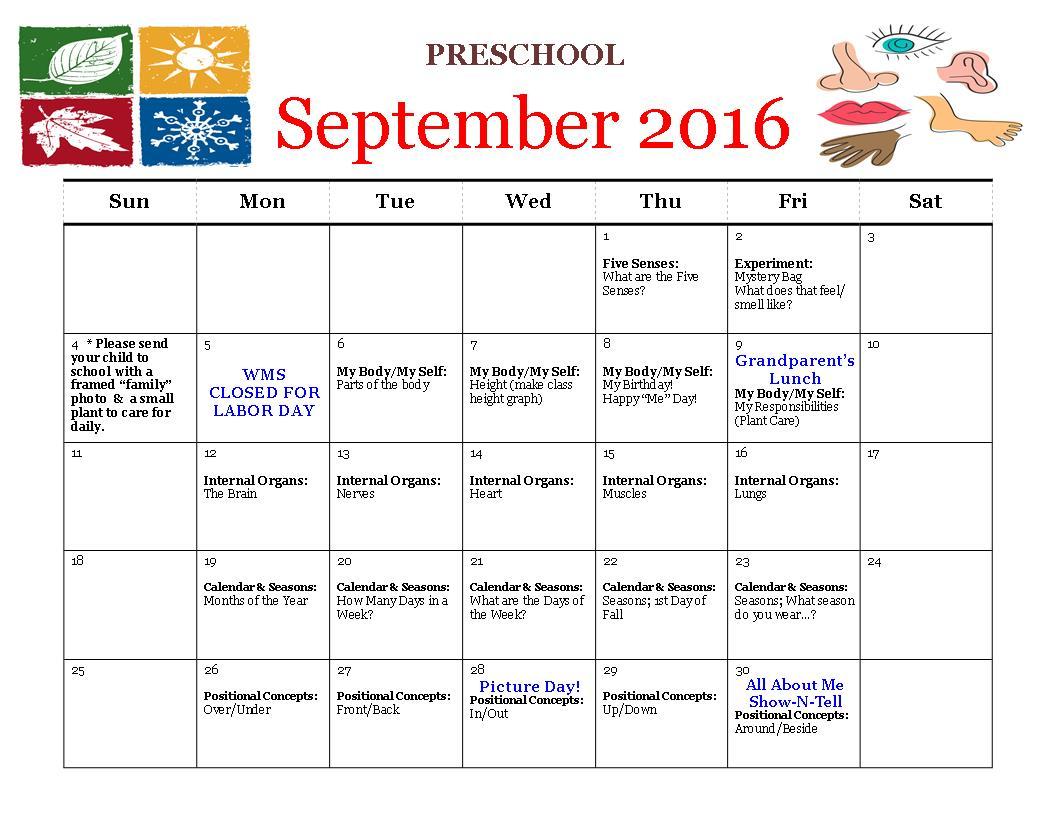 September 2016 Calendar Hillcrest Weinackers Montessori