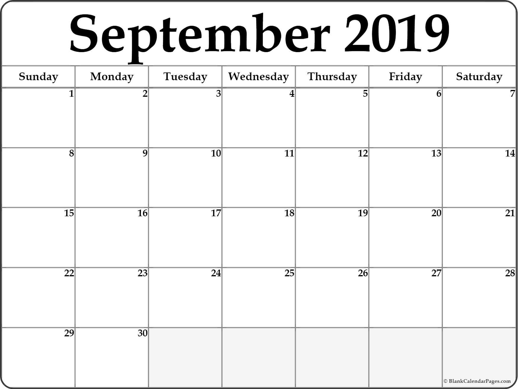 September 2019 Blank Calendar Collection