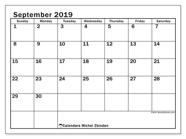 September 2019 Calendar 50ss Michel Zbinden En