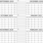 September 2020 To February 2021 Calendar With Notes Free