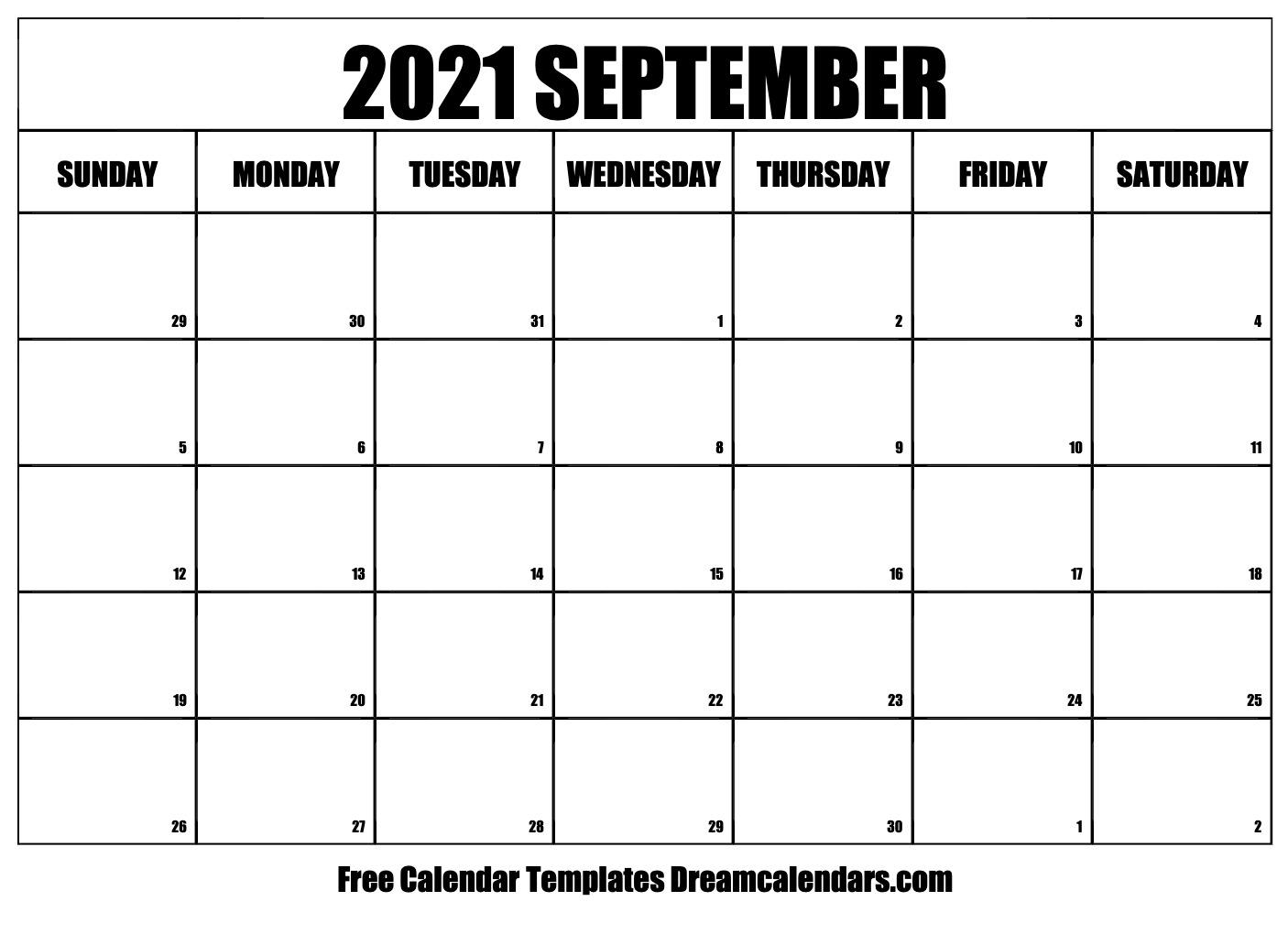 September 2021 Calendar Free Blank Printable Templates