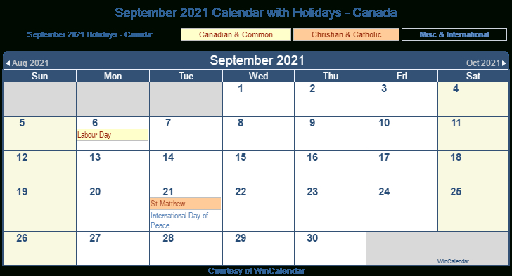 September 2021 Calendar Labour Day Calendar 2021