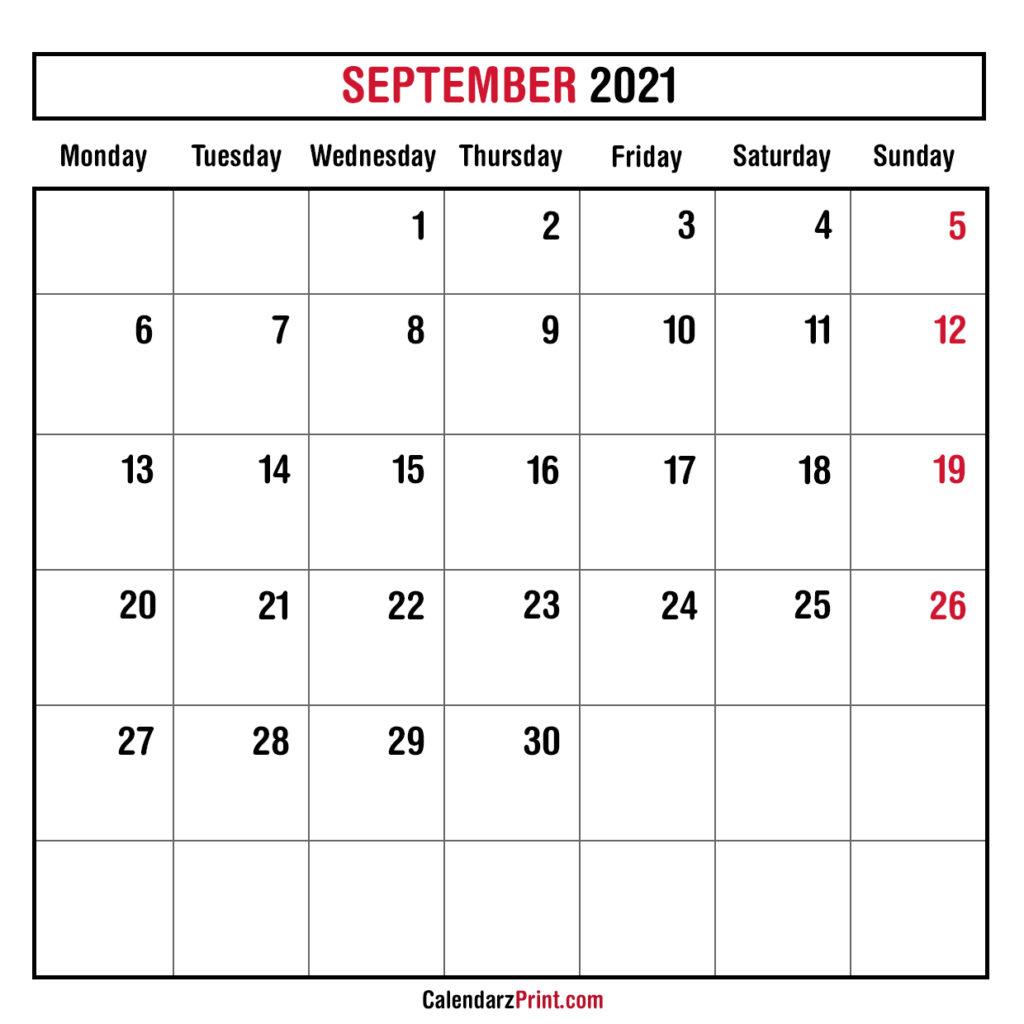 September 2021 Monthly Planner Calendar Printable Free