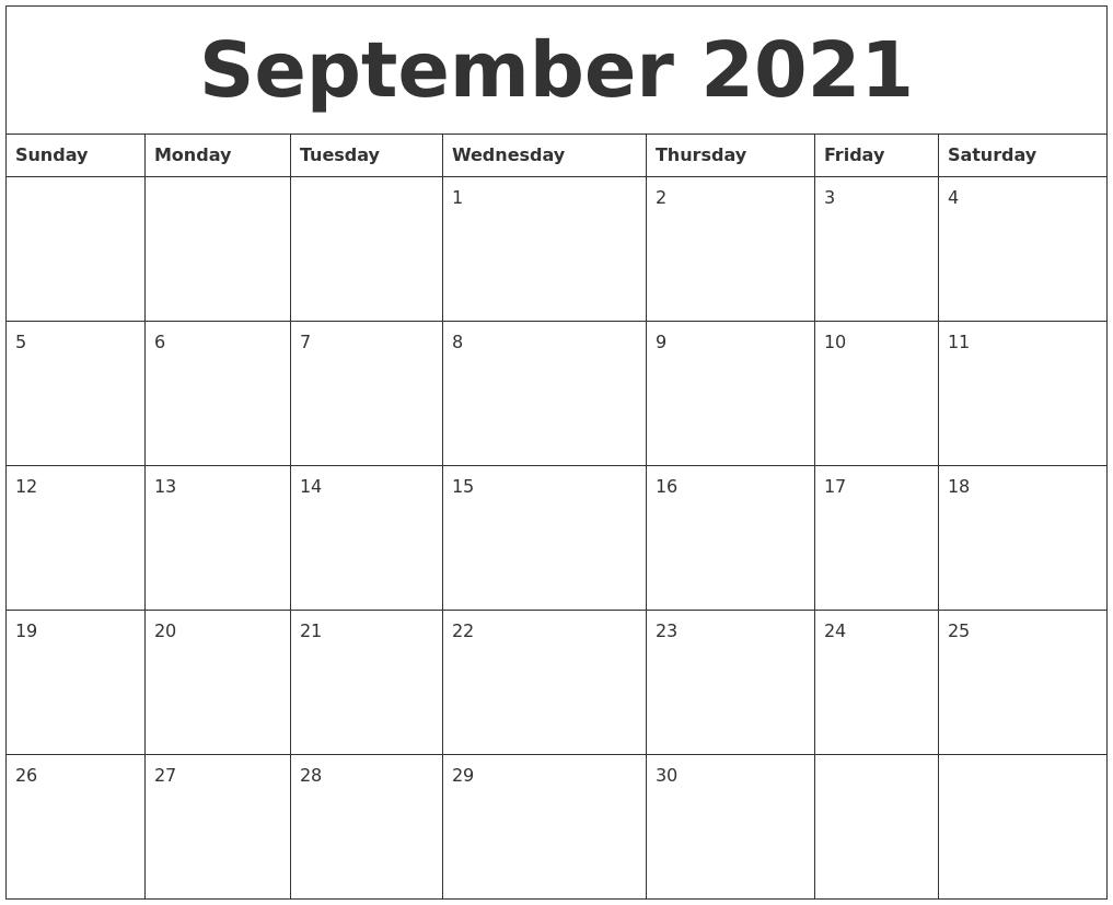 September 2021 Printable Daily Calendar