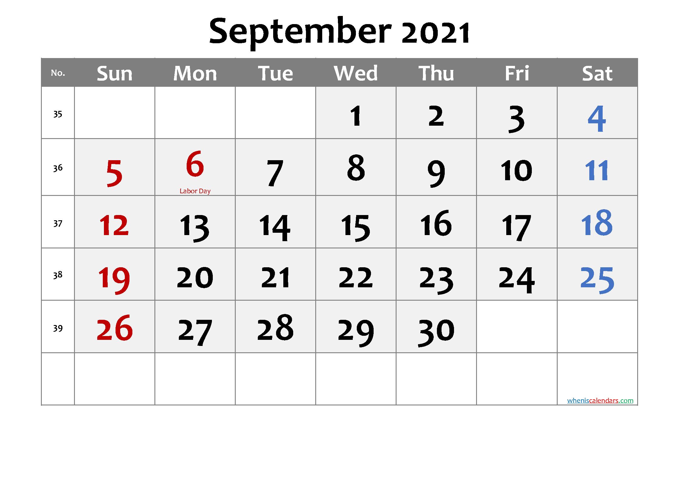 September Calendar 2021 Labor Day Printable March