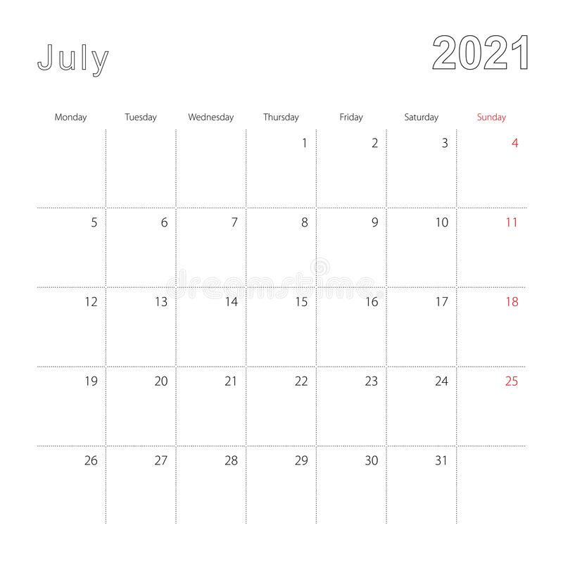 Simple Wall Calendar For July 2020 With Dotted Lines The