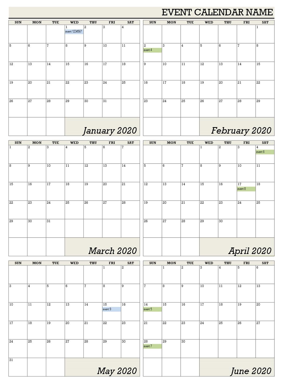 Six Monthly Calendar Office Templates