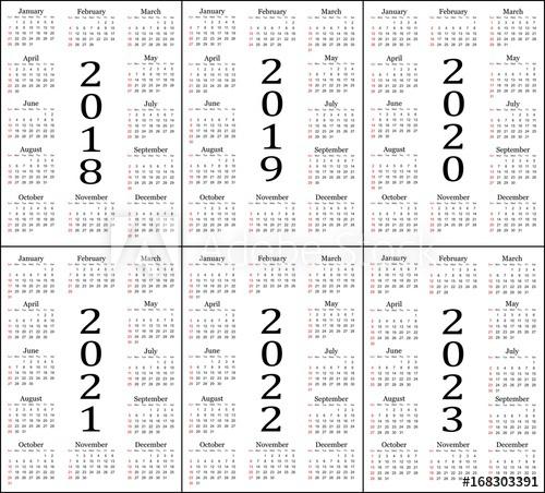 Six Year Calendar 2018 2019 2020 2021 2022 And 2023